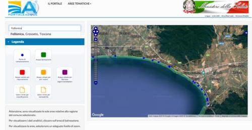 Portale acque - Ministero - Divieto di balneazione - Aree balneabili